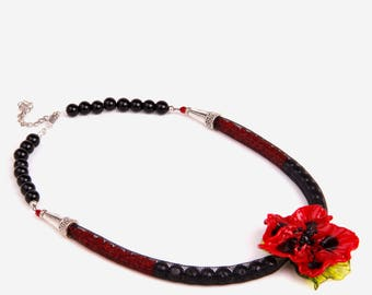 Necklace Art Glass Lampwork Red Poppy Flower Pendant, Black Tube, Beadwork,Agate Beads,Jewelry,Handmade,Gift