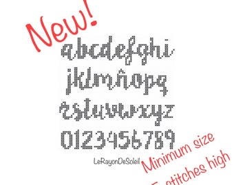 Cross stitch font pattern alphabet 15 stitches high font LILLY BELLE - PDF Instant download