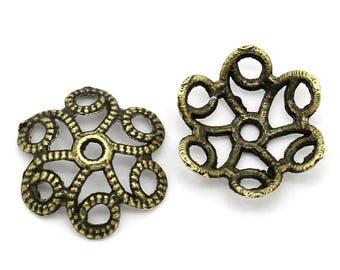 70 Filigree Beads Caps, Flower, Antique Bronze, Fits 18mm Beads, Hollow