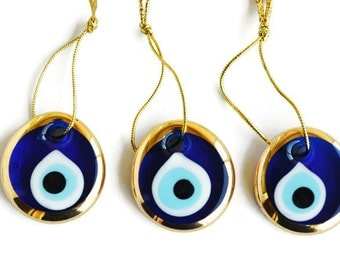 3 pcs Evil Eye Decoration Home Wall Hanging, Jewelry Making Pendant, Glass Evil Eye Beads For Bracelet Blue Glass Beads malocchio  ojo