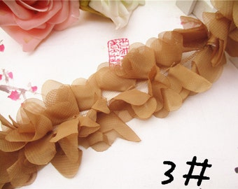 Chiffon Leaves Lace Trim 3D Light Coffee Lace 2.55 Inches Wide 1 Yard Wedding Costume Supplies