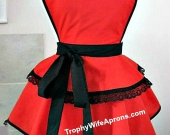 Apron number 4032 - Beautiful circular style red retro hostess apron