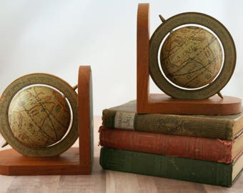 Old World Globe Bookends, Old World Map Bookends, Vintage Bookends, Library Decor, World Traveler Bookend, Vintage Globe Bookends