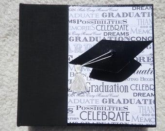 6x6 Black White Graduation Scrapbook Album with Cap & Tassel