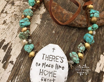 Theres no place like home sweet home - hand stamped - horse shoe