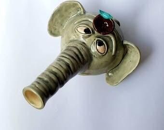 Elephant Water Pipe!  Wake and Bake Mug, Sip n' Smoke, Wake n Bake, Nug Mug, Coffee Mug Pipe, Ceramic Tobacco Pipe