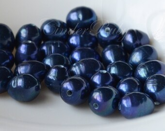 Large Hole Rice Freshwater Pearls,Large Hole Royal Blue Pearls,Royal Blue Ringed Rice Pearl,Grade B,9.5-11.5x12-13 mm