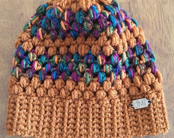 The Puff Beanie - KIDS- Rust and warm tone multicolored slouchy beanie, hat, winter accessory, perfect gift for women, teens, mom, daughter,