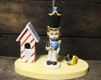 Vintage Child's Soldier Lamp, Ceramic Soldier and Cannon Bedroom Lamp