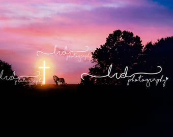 Digital Backdrop/Lamb and lion/Cross/Religion/landscape/prop/photography