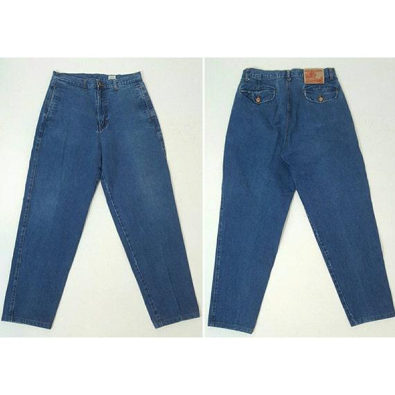 Vintage KENZO Size 33 Extra Large High Waist 80's Designer Jeans - size 14 XL Blue Jean Baggy Denim - Highwaisted Loose Leg Tapered Jeans
