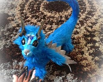 Posable sky blue fairy dragon, stuffed creature, plush dragon