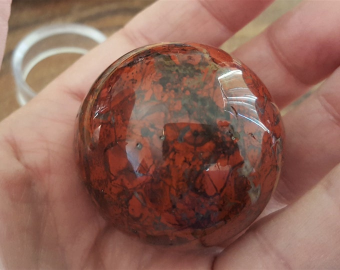 Poppy (Brecciated) Jasper sphere ~ One 40 mm Reiki infused crystal ball with stand (CB11)