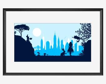 New York Skyline, New York, New York art, New York poster, Alice in Wonderland inspired, Alice in Wonderland art, print poster, nursery
