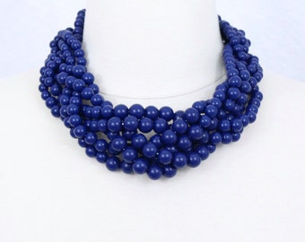 Navy Braided Necklace Beaded Necklace Chunky Statement Necklace Navy Blue Necklace Bride's Maids Jewelry Gift Dark Blue Beaded Necklace