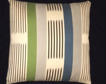 "Knoll Textiles - Ikat Stripe Cactus - Modern accent pillow - 17"" x 17"" feather/down insert included"