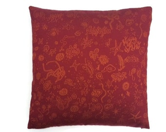 """Charles & Ray Eames Sea Things red/orange-- Mid-Century modern accent Pillow -  17"""" X 17"""" insert included"""