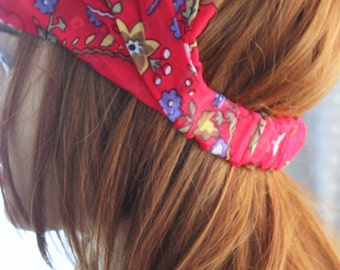 red Flower Headband Hair Bands Boho - headband - cotton headband - lacy headband - summer headband, spring hairband, flowers headband