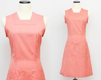 Salmon Pink Jumper Dress - Size Small Vintage Union Label 1970s Coral Casual Dress