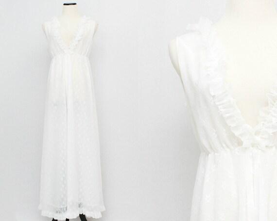 White Nightgown - Vintage 1960s Floor Length Ruffle Neck Night Dress