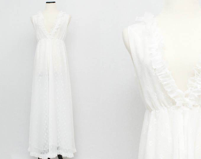 White Nightgown - Vintage 1960s Floor Length Ruffle Neck Night Dress