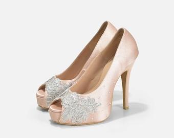 Enchanting Nude Satin Evening Heels, Nude Bridal Heels, Swarovski Heels, Bridal Shoes, Custom Made Wedding Shoes, Nude Heels