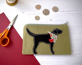 Labrador lover gift - coin purse  - zipper pouch - mini make up bag - coin zipper - black labrador - gift for her - gift for mom - dog lover