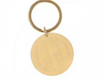 Monogrammed Metal Keychain - Engraved Key Ring