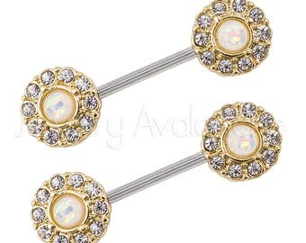 Opal Nipple Ring, Halo CZ Opalite Nipple Jewelry, 14G Nipple Barbell Ring, Screw-on 316L Surgical Steel, Sold as Pair, Body Jewelry