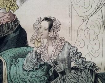 Fashion of Paris 1838, from the Petit Courrier des Dames, Original Hand Colored Steel Engraving, French Ladies, Illustration, Modes de Paris