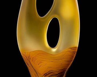 Sale Contemporary art glass Yellow Gold Trans Terra Ceia