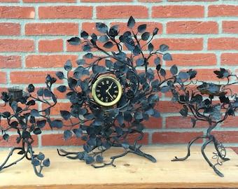 Antique hammered wrought Iron clock set