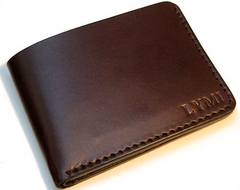 Mens leather wallet, personalized leather wallet, slim leather billfold, monogrammed leather wallet,