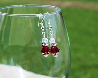 Red swarovski crystal sparkling earrings