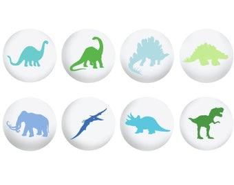 Dinosaur Drawer Knob, Dinosaur Silhouette Nursery Decor, Hand Painted Drawer Knob