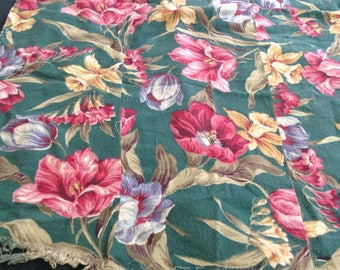 Vintage bark cloth, assorted pieces for making pillows, purses, etc