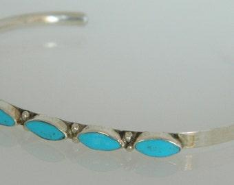 Native American Zuni Turquoise & Sterling Silver Handmade Row Bracelet