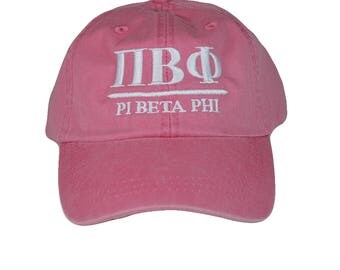 Pi Beta Phi (B) Hot Pink Baseball Hat with White Thread