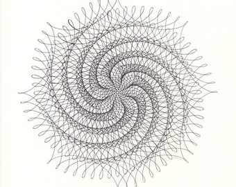 """Original Ink Drawing, Spiral Abstract Line Drawing, Black & White Ink Line Intricate Geometric Lacy Nautilus Modern Art, 12"""" x 12"""" Wall Art"""