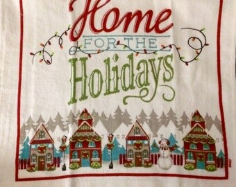 Home for the Holidays Town Crocheted Top Towel  (C22)