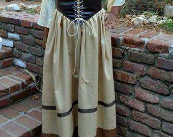 FREE SHIPPING Renaissance faire or civil war cotton skirt drawstring one size fits most