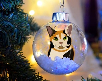 Calico Kitty Cat Christmas Ornament personalized memorial floated paper glass bulb gift