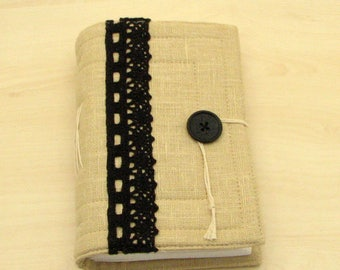Handmade Ivory Linen fabric Journal, Sketchbook, Diary, 240 pages, blank drawing paper.