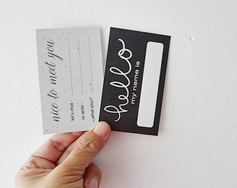 Double side Calling Cards, Social Media Cards, Business Card, Name Card, Contact Card - Hello My Name Is
