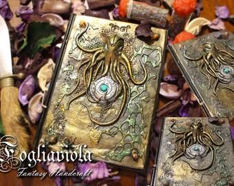 Rise of Cthulhu Lovecraft necronomicon diary Journal kraken octopus marine secret sigil magic Locket turquoise handmade nautical Octopus