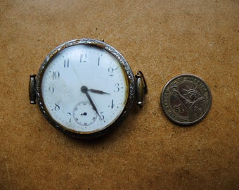 Antique pocket wrist watch Watch for parts Restore - Steampunk supplies - Pocket Watch - Watch movement with dial  Steampunk art supply Pw07