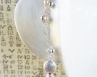 Hidden Treasure:  Sterling Silver and Freshwater Pearl Duo Mati ( earring and earchain) set