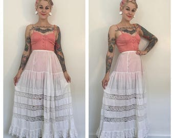 Antique Early 1900's White Lace Skirt