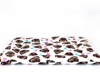 SALE Dog Bed, pug, flannel fabric, crate mat, dog bedding, crate bed