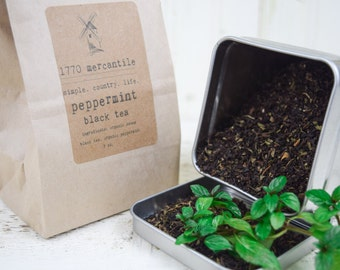 Organic Peppermint loose leaf Assam Black Tea blend 2, 3, 4, 5 oz bag you pick!